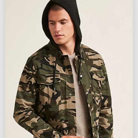 7daf5fd03c369 Forever 21 Jackets & Coats   Men Women Camo Jacket With Hoodie From ...